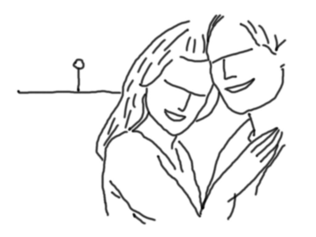 Diese Pose zeigt Sie und Ihn von Angesicht zu Angesicht aber mit dem Blick in die Kamera, Sie hält ihren Arm auf sein Brust. Wird bevorzugt im Querformat als Close-up aufgenommen.