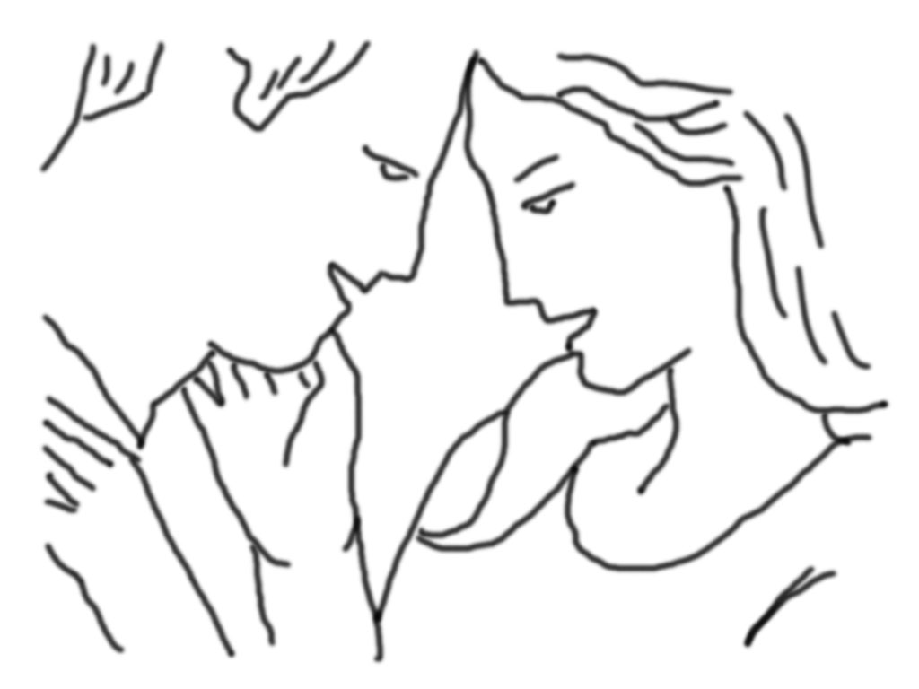 Das Paar steht nah zusammen und berührt sich mit der Stirn. Sie streichelt seine verdeckte Wange. Eignet sich gut für Nahaufnahmen.