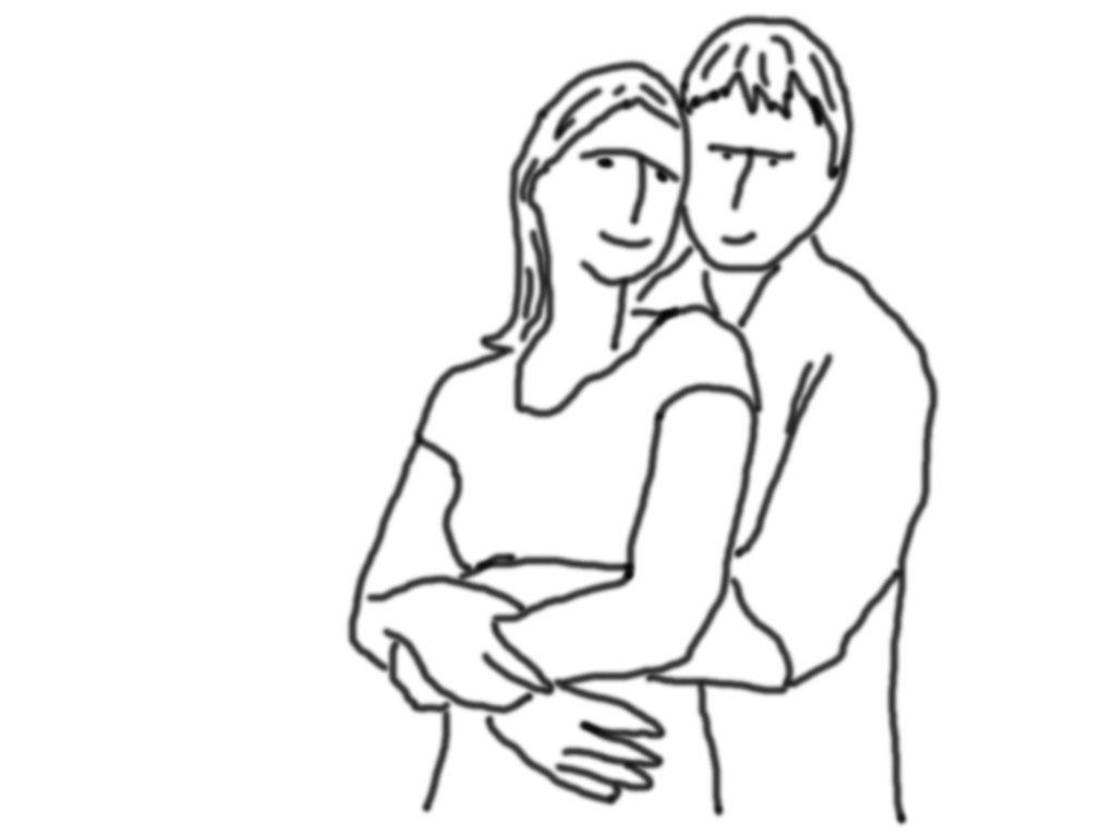 Sehr einfache und herzliche Pose wo Er Sie von hinten festhält. Das Paar kann einander in die Augen schauen oder in die Kamera blicken. Auch Küssen ist erlaubt.