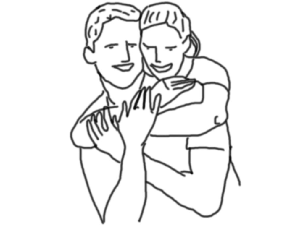 Spaßig und liebevolle Pose, wobei Sie seinen Oberkörper von hinten umarmt und und sich auf Ihm halb abstützt. Achte auf die Position der Hände damit es einfach und natürlich wirkt.