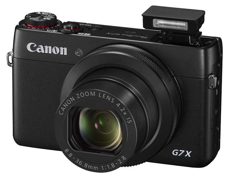 Canon PowerShot G7 X von Vorne mit Blitz